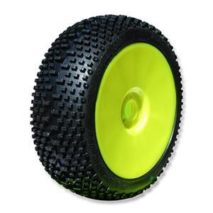 SWEET SHOT (medium/modrá směs) Off-Road 1:8 Buggy gumy nalep. na žlutých disk. (4ks.)