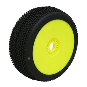 MARATHON (soft/zelená směs) Off-Road 1:8 Buggy gumy nalepené na žlutých diskách (ks.)